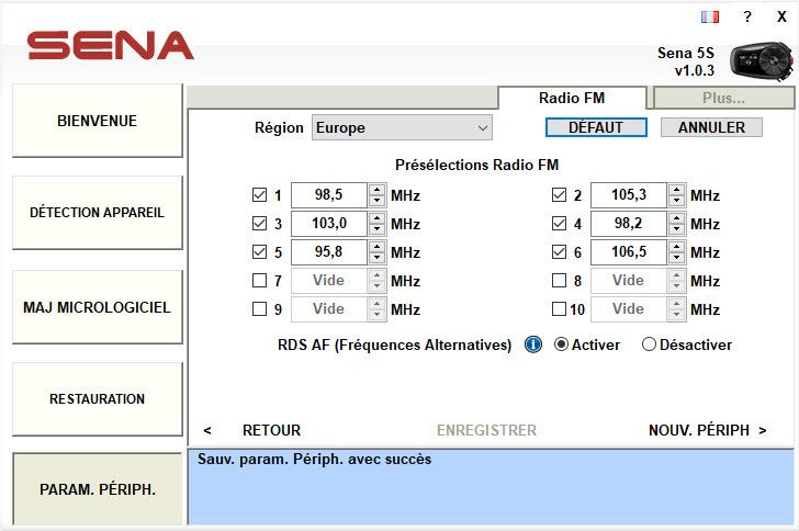 Programmation de la radio via le Sena Device Bluetooth manager